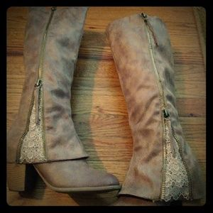 "Not Rated brand ""Spiffy"" Knee High Taupe Boot"
